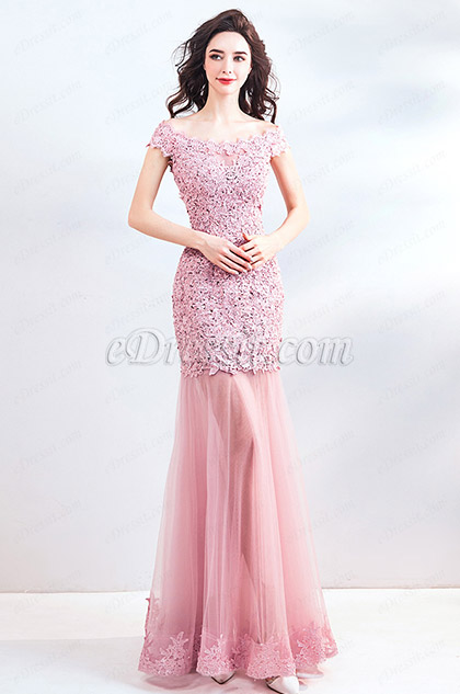 eDressit Pink Cap Sleeves Lace Applique Party Ball Dress (36206246)
