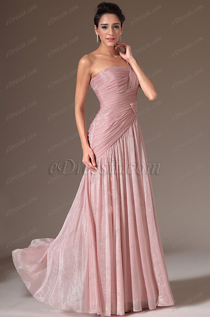 eDressit Simple One-Shoulder Pleated A-Line Prom Dress(00146446)