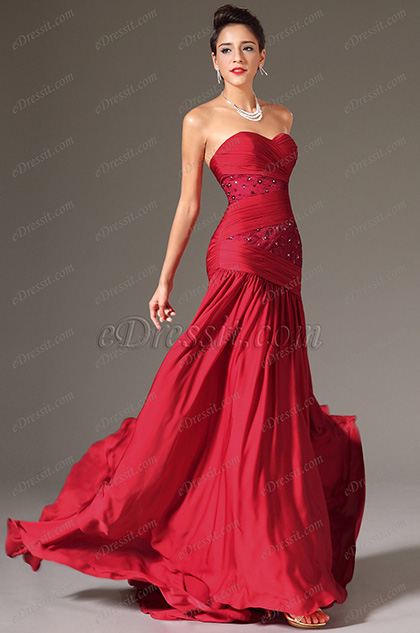 eDressit Red Strapless Sweetheart Formal Dress (00140417)