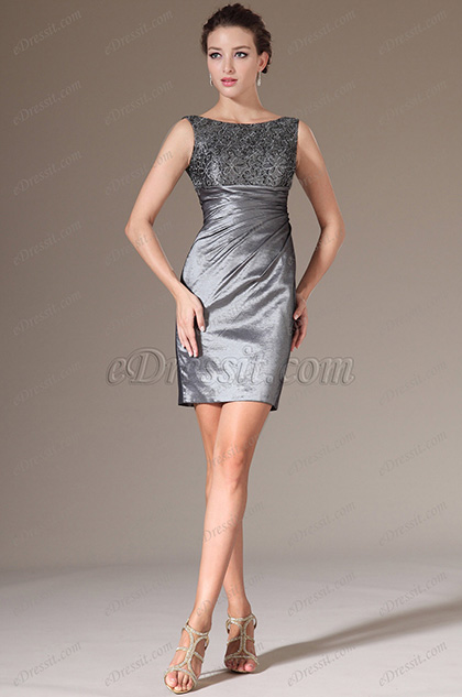 eDressit Grey Lace Top Fitted Short Cocktail Dress (04141326)