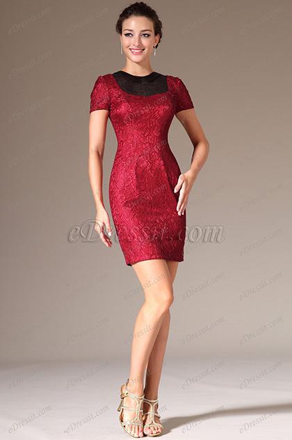 eDressit 2014 Neu Rot Rund Ausschnitt mit kurzen Ärmeln Lace Abendkleid (03140202)