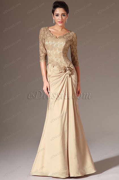eDressit Brown V-Neck Lace Top Half Sleeves Mother of the Bride Dress (26141814)