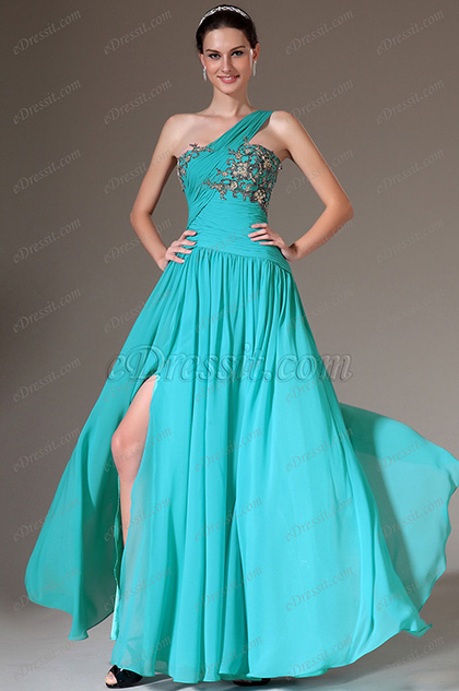 eDressit Blue One-Shoulder Embroidered High-Slit Prom Dress (02141911)