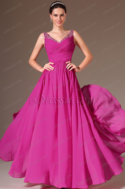 eDressit V-Neck Beaded A-Line Prom Dress (00143512)