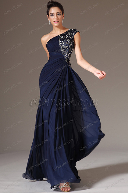 eDressit Dark Blue One-Shoulder Formal Dress (00142905)