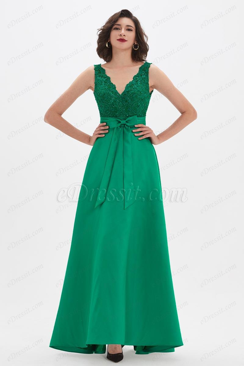 eDressit Robe de Soirée Verte Avec Appliques En Dentelle (02210204)