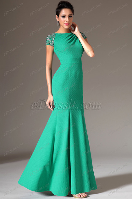eDressit Beaded Cap Sleeves Mermaid Evening Gown (02144211)