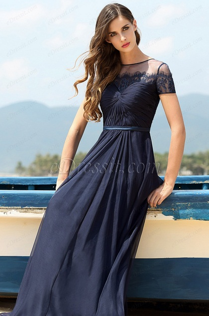 A Line kurzärmelig dunkel blau Fomal Kleid Ball Abendkleid (00160605)