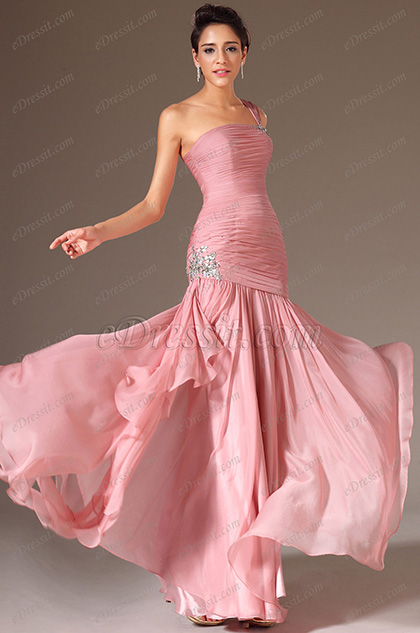 eDressit Pink One-Shoulder Beaded Prom Dress (00146301)