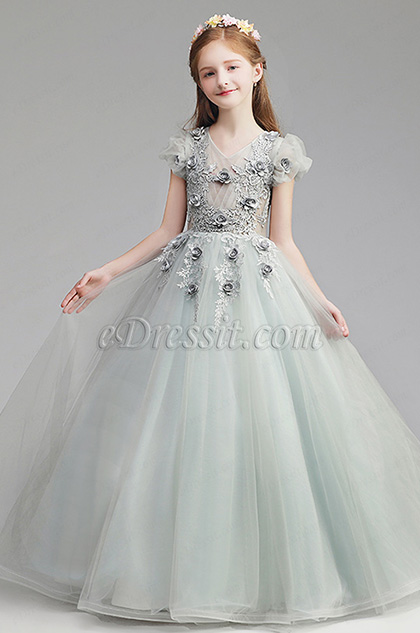 eDressit Lovely Grey Long Wedding Flower Girl Dress (27196808)