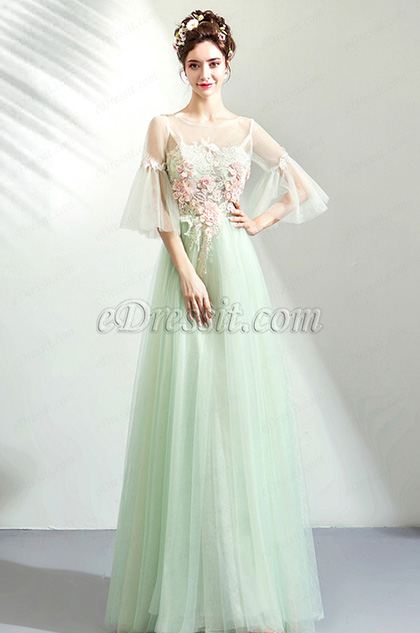 eDressit NEW Green Sleeves EmbroideryTulle Party Prom Dress (36207204)
