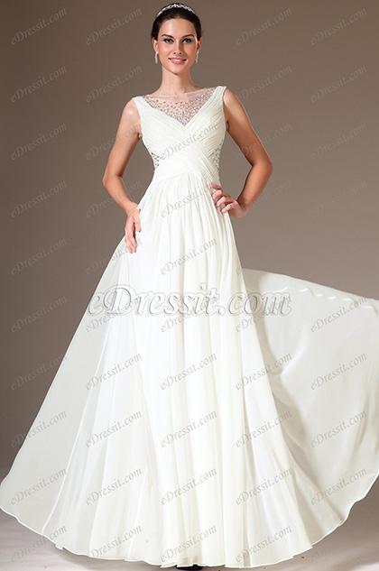 eDressit Beaded Sheer Top A-Line Wedding Dress (01140907)