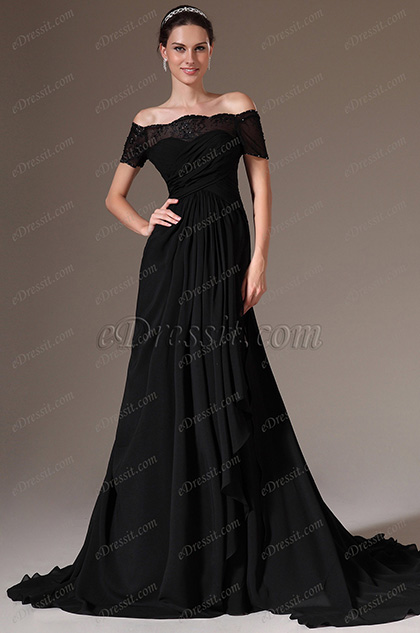 eDressit Black Off-Shoulder Lace Sleeves A-Line Evening Gown (02143800)