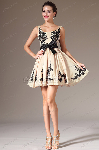 Vestido de Coctél Simple Beige y Negro Apliques para Velada(04140814)