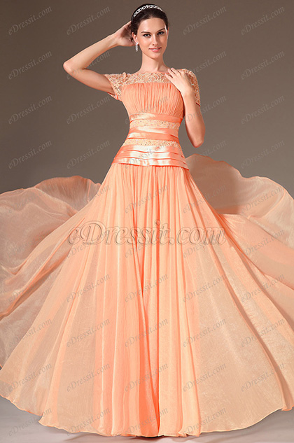 eDressit Orange Lace Short Sleeves Prom Dress (26146010)