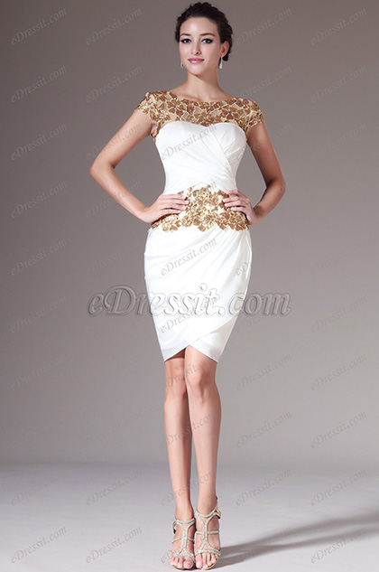 eDressit Golden Lace Top Sheath Knee-Length Formal Dress (04141514)