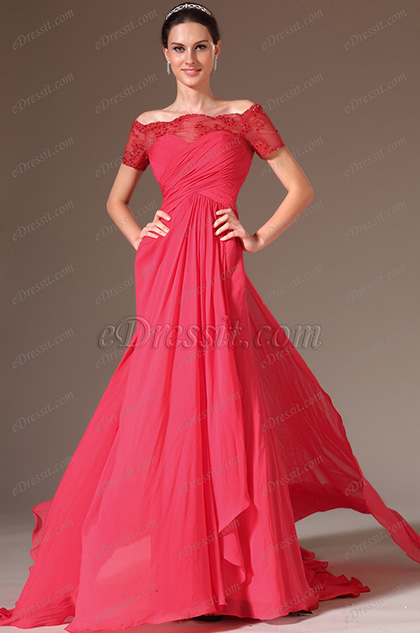 eDressit Red Lace Off-Shoulder Sweetheart Evening Gown (02143802)
