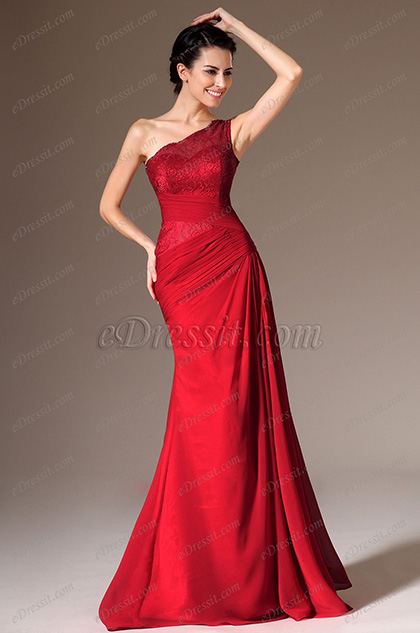 eDressit Red One-Shoulder Lace Top Evening Gown(00140102)