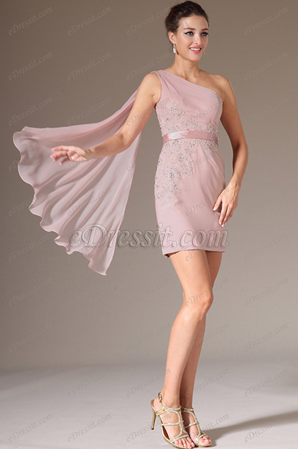 eDressit Pink One Shoulder Sheath Party Dress (04141801)