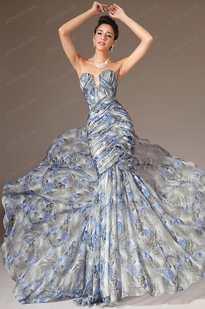 eDressit Strapless Sweetheart Printed Mermaid Evening Gown (02140668)