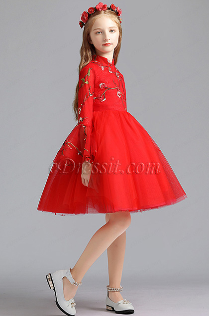 Red Embroidery Princess Flower Girl Stage Dress