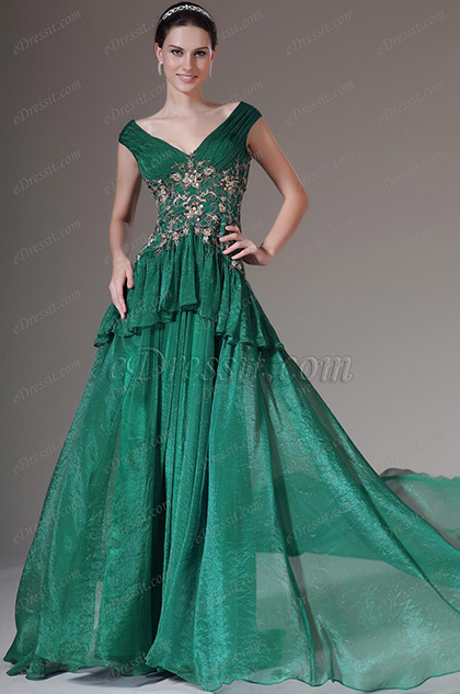 eDressit Green V-Neck Sleeveless Formal Gown (02142304)
