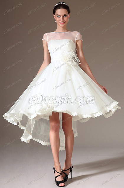 eDressit Sheer Top Cap-Sleeves High Low Wedding Dress (01140207)
