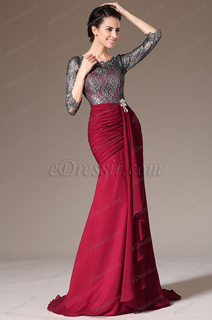 eDressit Lace Top & Sleeves Sheath Formal Dress (26140302)