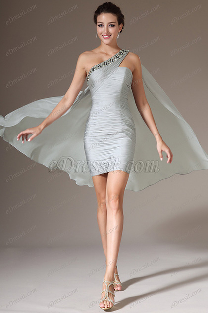 eDressit Grey Beaded One Shoulder Party Dress (04140708)