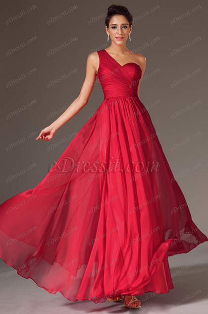 eDressit Red One-Shoulder Sweetheart Lace Back Evening Dress