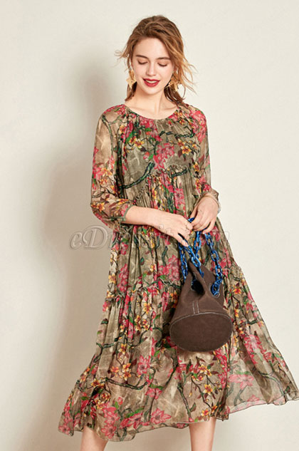 eDressit Simple Silk 3/4 Sleeves Printed Dress Day Wear (30191768)