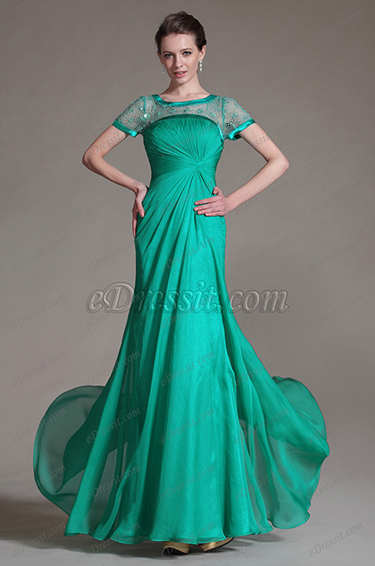 eDressit Green Sheer Top Mother of the Bride Dress (26146304)