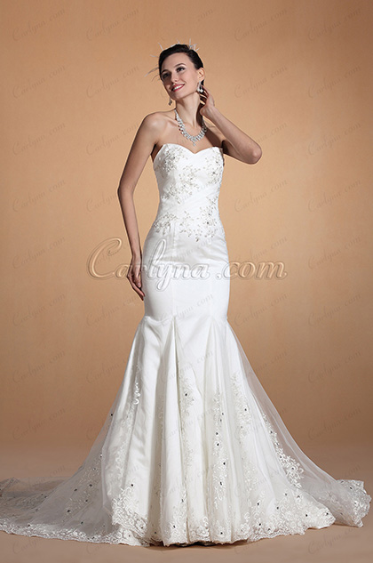 Stylish Sweetheart Beaded Mermaid Royal Train Wedding Gown (C37144407)