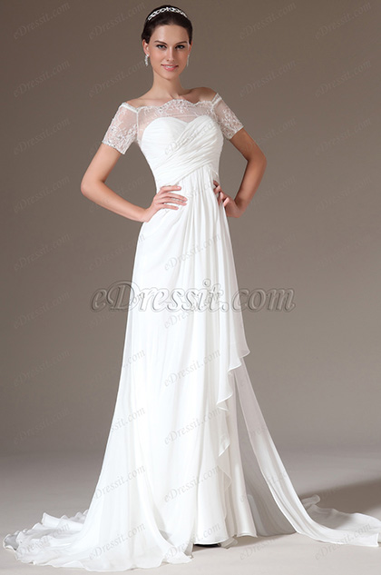 eDressit Graceful Overlace Off Shoulder Wedding Gown (01140707)