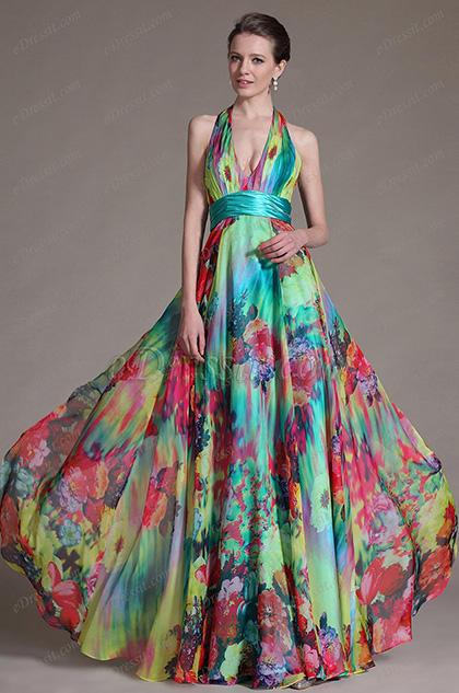 eDressit Printed Halter V-neckline Evening Dress Prom Gown (00091812)