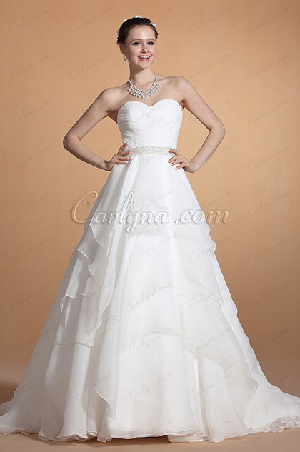 Gorgeous Strapless Sweetheart Neck Wedding Gown (C37143307)