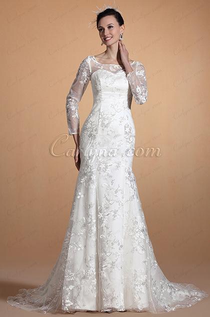 2014 Новое с Рукавами Русалка Кружевное Свадебное Платье (C37143607)