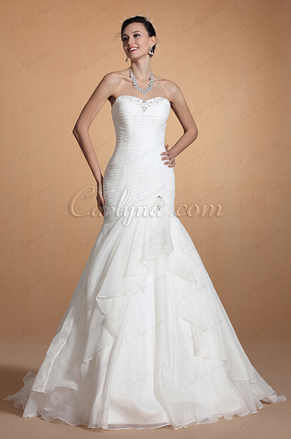2014 New Elegant Strapless Sweetheart Neck Mermaid Wedding Gown (C37143407)