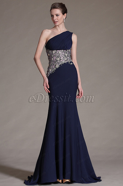 eDressit Dark Blue One-Shoulder Evening Dress (00142305)