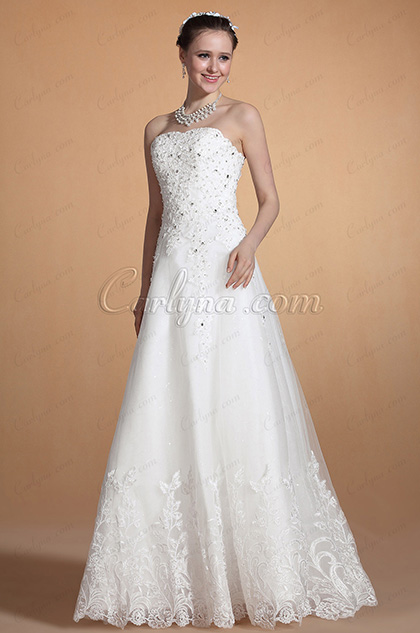 Graceful Strapless Beadings Decorated A-line Wedding Gown (C37145807)