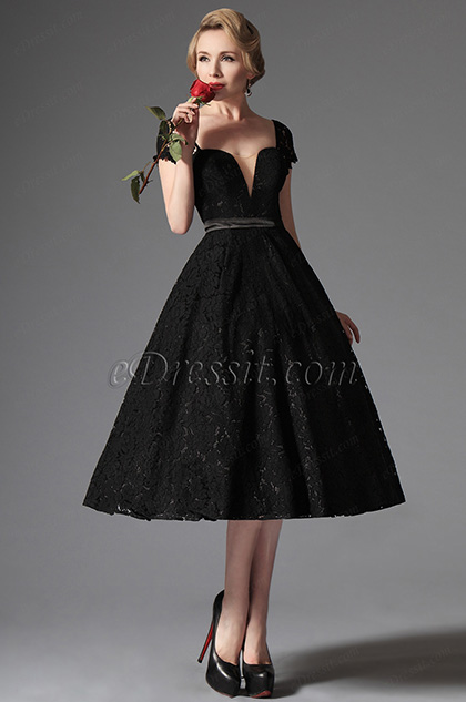 eDressit Black Lace Vintage Prom Dress Formal Gown (04145200)
