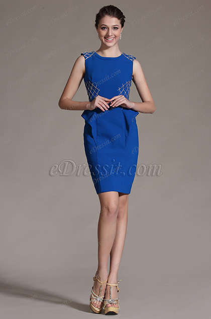 eDressit Fashion Blue Sleeveless Cocktail Dress Day Dress (03142305)