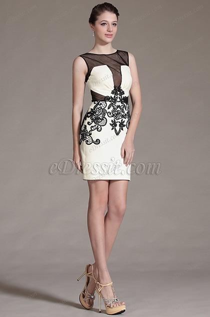 eDressit 2014 Новое Фатин Топ Чёрное Кружевное Коктейльное Платье(03142014)