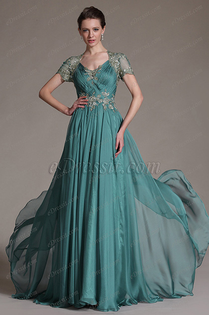 eDressit Shot Sleeves Long Evening Prom Gown (02145505)