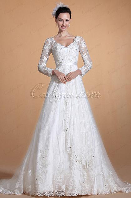 V-neck Lace Sleeves Beaded Bodice Wedding Dress(C37140507)