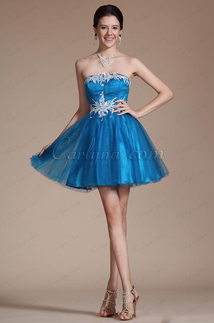 2014 Novedad Azul Sin tirantes Encaje Appliques Vestido de Coctel/Fiesta (C04140405)