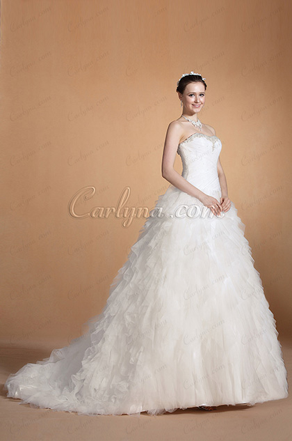 Beaded Sweetheart Ruched Bodice Wedding Gown(C37140607)