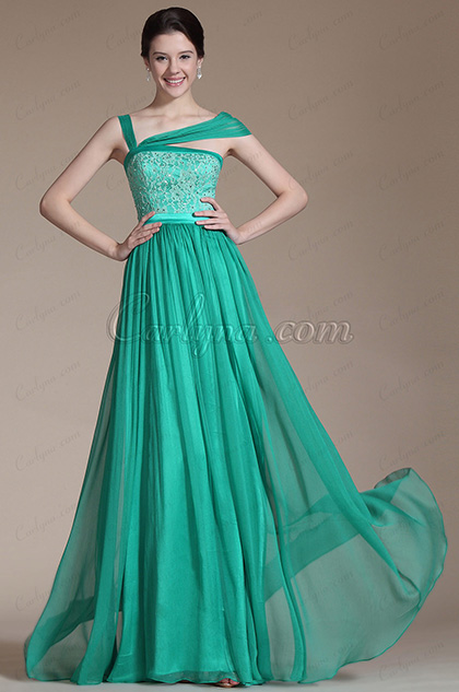 Turquoise Lace Top Evening Gown (C00144404)