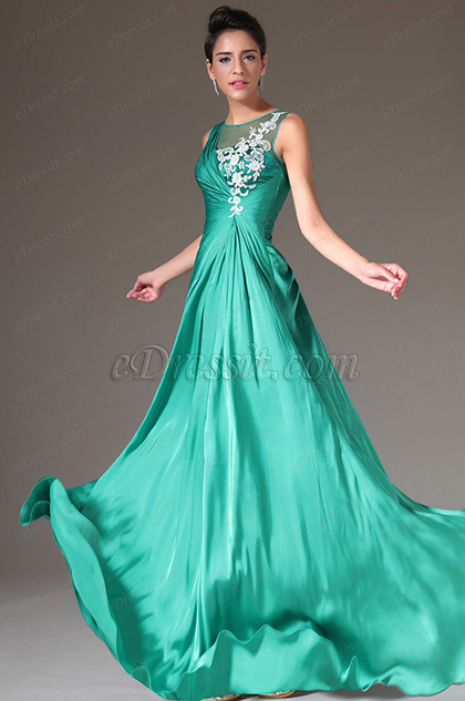 eDressit Turquoise Embroidered Empire Prom Dress (00141904)