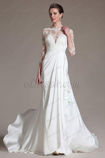 eDressit 2014 Nuevo Vestido de novia Romantico con Top escarpado de encaje (01141307)